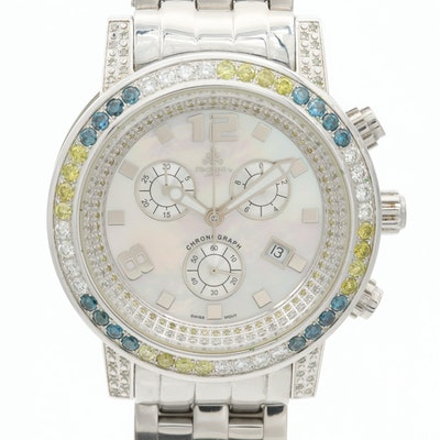 Techno JPM Stainless Steel and 3.98 CTW Diamonds Quartz Chronograph Wristwatch