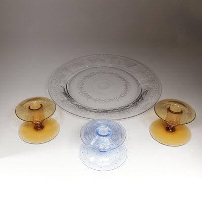 Pairpoint Art Glass Candle Holders and Serving Tray