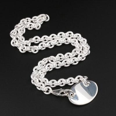 Fine Silver Pendant Cable Link Chain Necklace