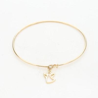14K Yellow Gold Bangle Bracelet With Angel Charm