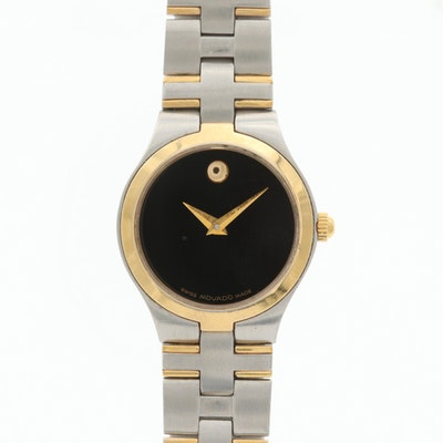Movado Museum Two Tone Wristwatch With Black Dial