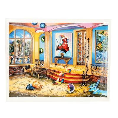 "Alexander Astahov Serigraph ""Modern Room"""
