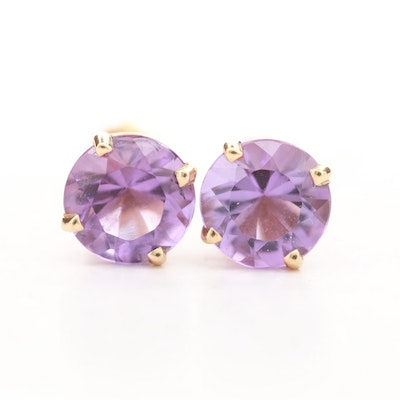 14K Yellow Gold Amethyst Stud Earrings