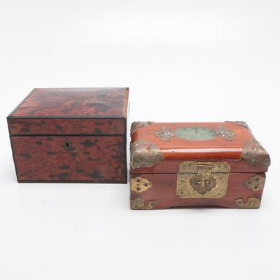 Vanity Wood Boxes with Inlay and Lacquered Finishes, Mid-Late 20th Century