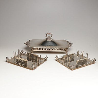 """Wallace """"Baroque"""" Silver Plate Covered Casserole Dish with Flatware Caddies"""