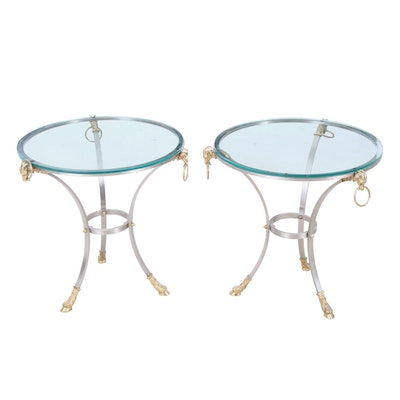 Contemporary Neoclassical Metal and Glass Side Tables with Ram Head Motifs