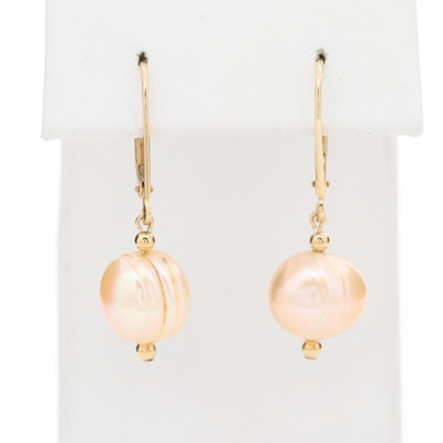14K Yellow Gold Cultured Pearl Drop Earrings