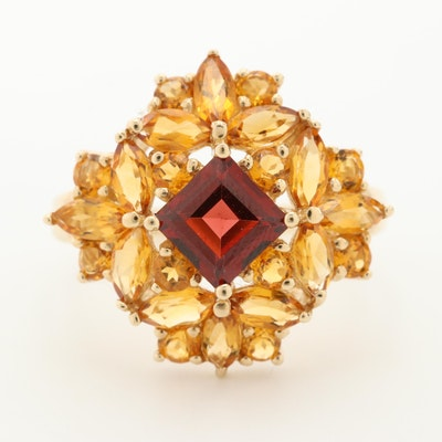 10K Yellow Gold Garnet and Citrine Ring