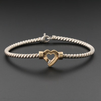14K Yellow Gold Heart on Sterling Silver Bangle Bracelet with Diamond Accent
