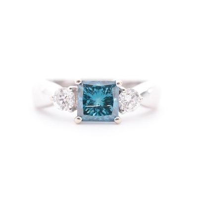 14K White Gold 1.83 CTW Diamond Ring Featuring Blue Center Diamond