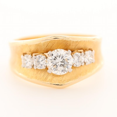 14K Yellow Gold Diamond Band with Florentine Accents