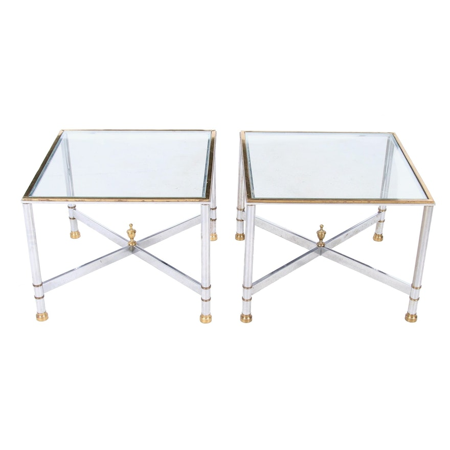 Pair of Contemporary Chromed Metal and Glass Side Tables, Late 20th Century