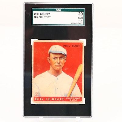 1933 Goudey Phil Todt St. Paul Saints Baseball Card, SGC Graded Fair 20 1