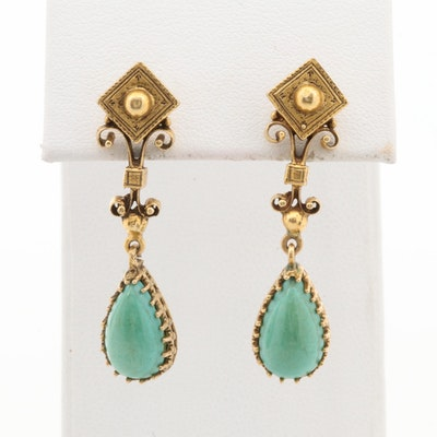 14K Yellow Gold Imitation Turquoise Dangle Earrings