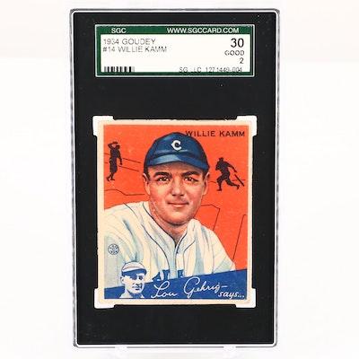 1934 Goudey Willie Kamm Cleveland Indians Baseball Card, SGC Graded Good 30