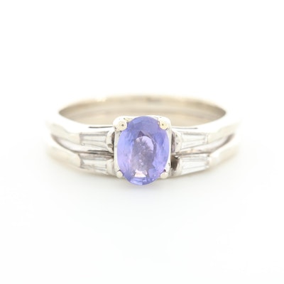 14K White Gold Sapphire and Diamond Ring with Matching Diamond Shadow Band