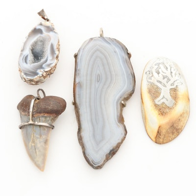 Sterling Silver and Silver Tone Sliced Geode, Antler, and Shark Tooth Pendants
