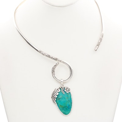 Sarda Sterling Silver Stabilized Turquoise Torque Necklace