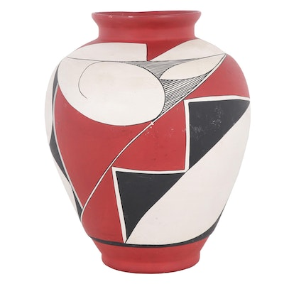 Acoma Polychrome Earthenware Vase Attributed to Marie Z. Chino
