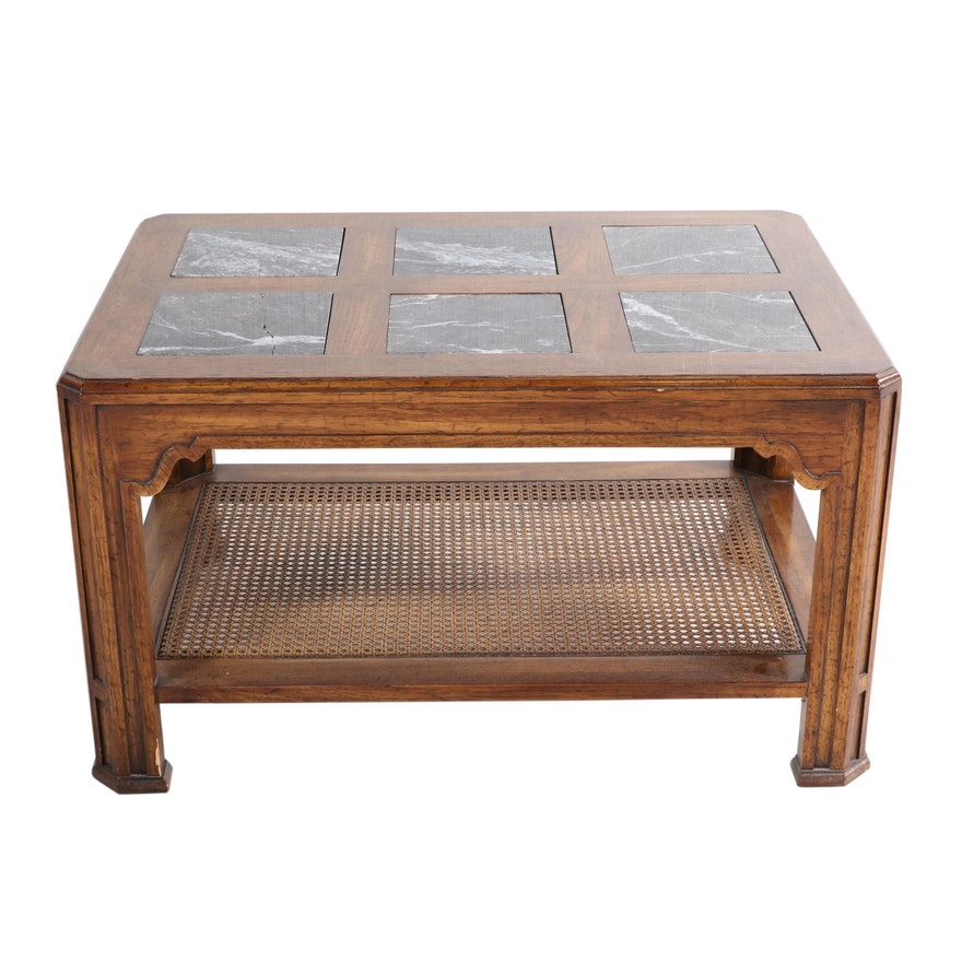 Oak, Marble and Caned Side Table, Late 20th Century