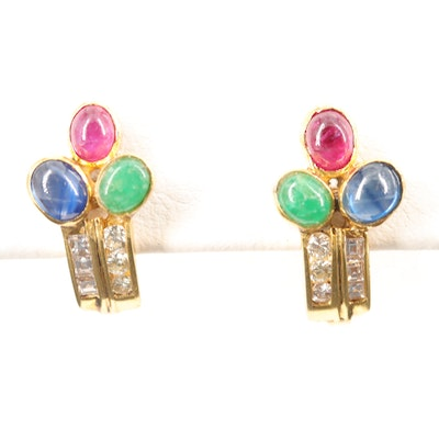 14K Yellow Gold Ruby, Sapphire, Emerald and Diamond Earrings