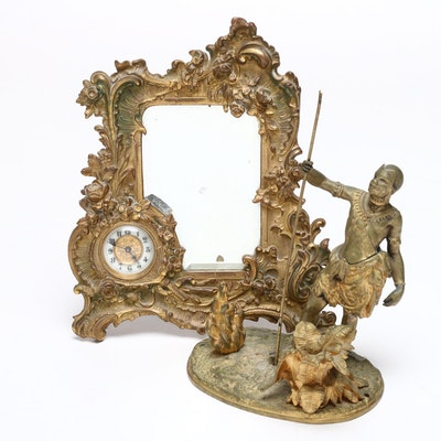 Victorian Brass Table Mirror with African Tribesman Holding Spear Figure