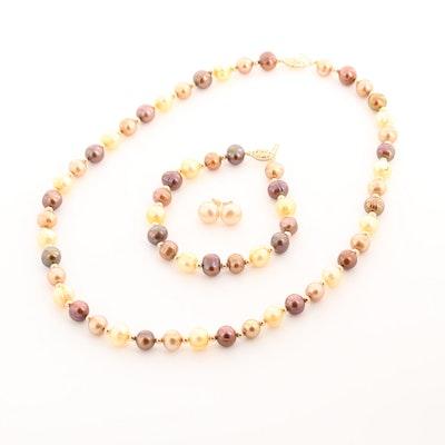 14K Yellow Gold Multi-Colored Cultured Pearl Demi Parure