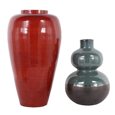 Contemporary Ceramic & Bamboo Vases