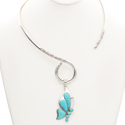 Sarda Sterling Silver Stabilized Turquoise Torque Butterfly Necklace