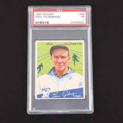 1934 Goudey Oral Hildebrand Baseball Card, PSA Graded PR 1