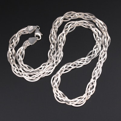 Mexican Sterling Silver Braided Serpentine Chain Necklace