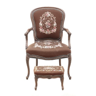 Louis XV Style Needlepoint Upholstered  and Walnut Armchair with Footstool