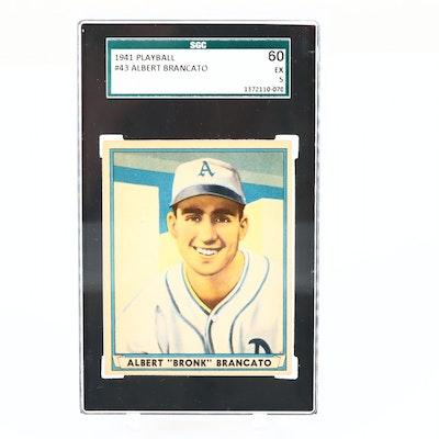 1941 Play Ball Albert Brancato Philly Athletics Baseball Card, SGC Graded Ex 60