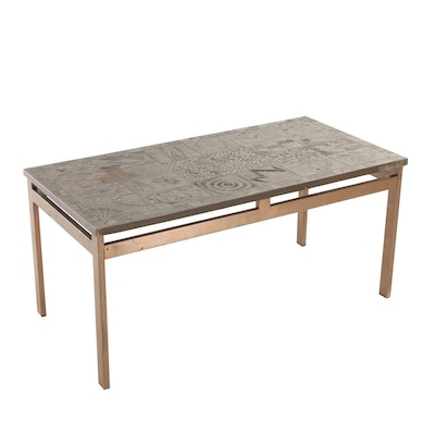 Modernist Copper-Mounted and Relief-Patterned Coffee Table