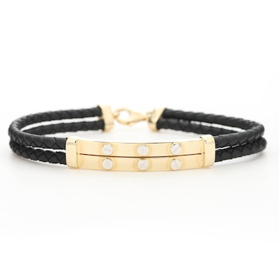 14K Yellow Gold and Leather Braided Bracelet