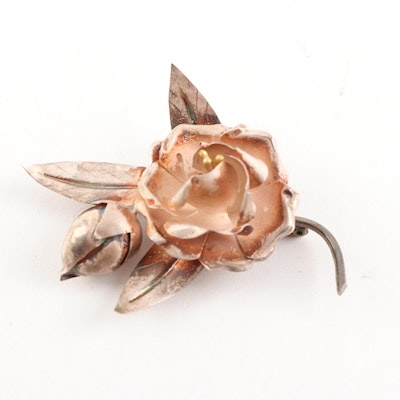 Mexican 998 Silver Rose Brooch