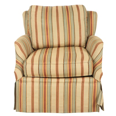 Huntington House Swivel Armchair with Down Back Pillow, Contemporary