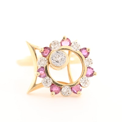 14K Yellow Gold Diamond and Ruby Spinner Ring