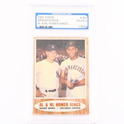 1962 Topps Roger Maris/Orlando Cepeda Homer Kings Card, PGS Graded VG-EX 4
