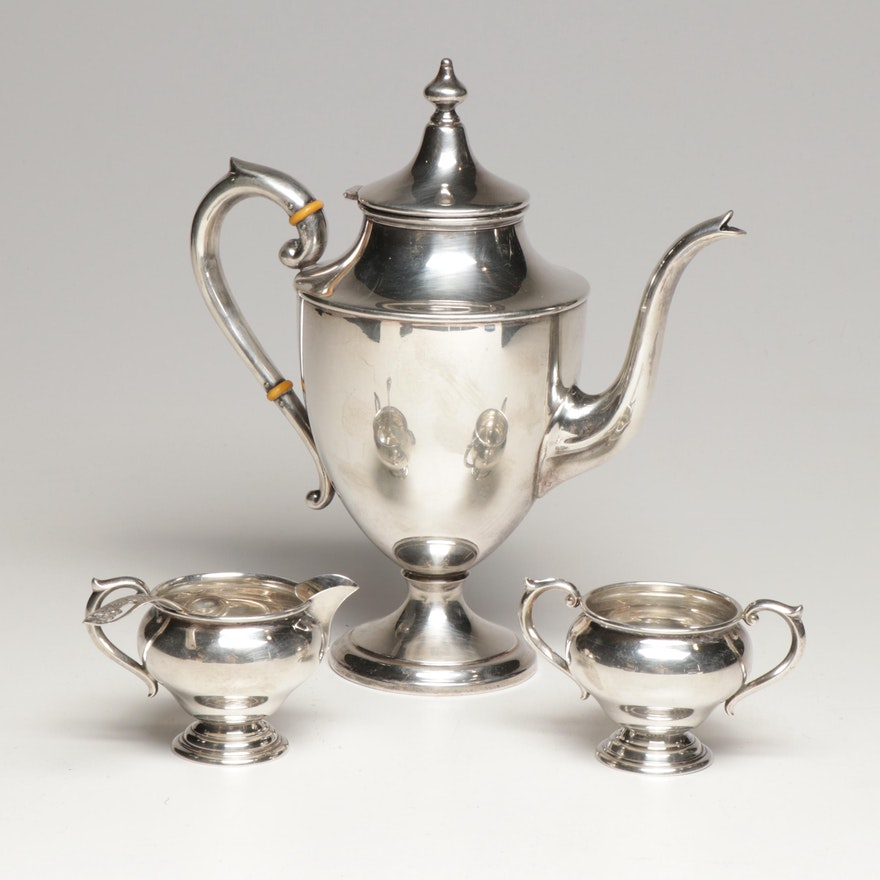 Preisner and Newport Sterling Silver Tea Service, Mid-Century