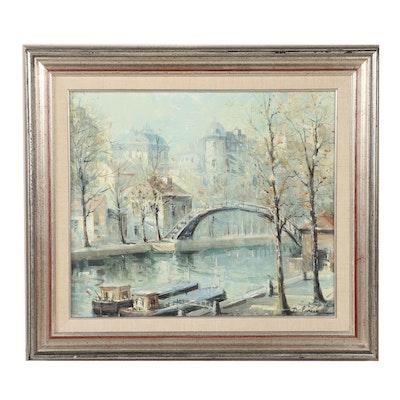 Lucien Delarue Oil Painting of European Canal Scene