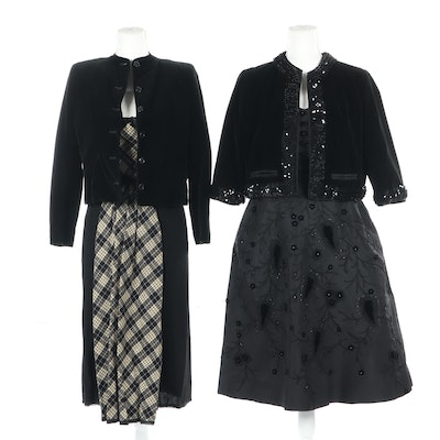 Vera Horn Embellished Cocktail Dress and Cropped Jacket with Other Dress, 1950s