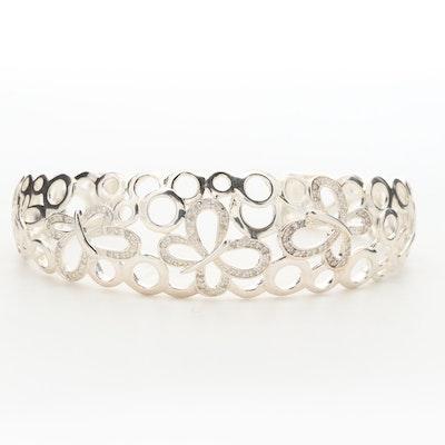 Fine Silver Diamond Openwork Butterfly Cuff Bracelet
