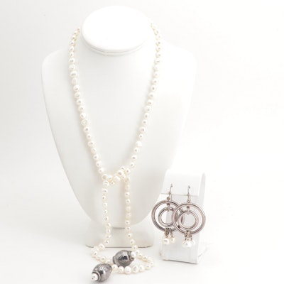 Silver Plated Freshwater Pearl Lariat Necklace and Dangle Earrings