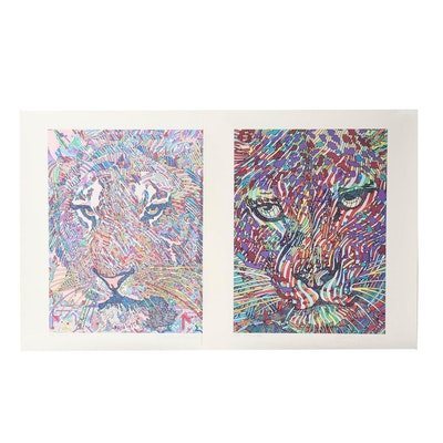 "Guillaume Azoulay Giclees ""Leopard"" and ""Arabesques Tigrees"""