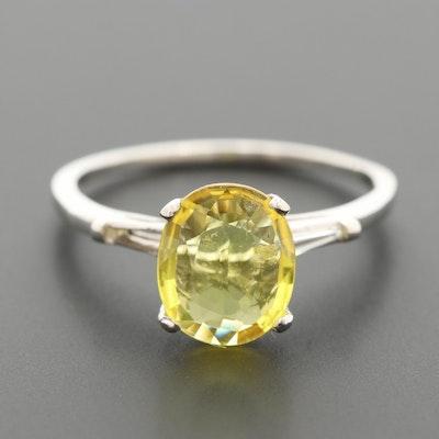 1950's Platinum Yellow Sapphire and Diamond Ring