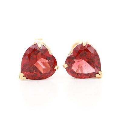 14K Yellow Gold Garnet Heart Earrings