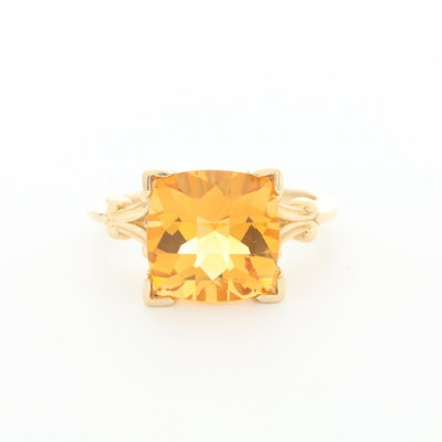 14K Yellow Gold Citrine Solitaire