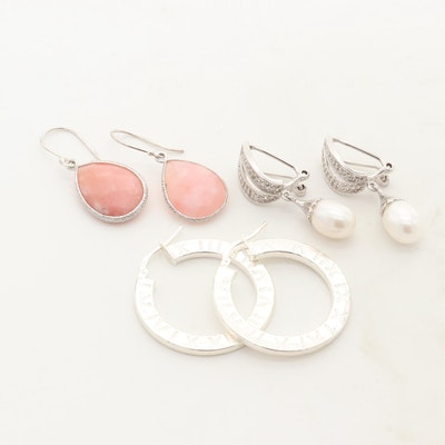 Sterling Silver Earrings with Cultured Pearl, White Topaz and Pink Opal
