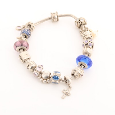 Pandora Sterling Silver Bracelet with Fifteen Pandora Charms